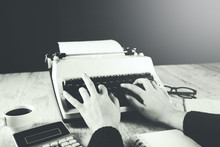 Woman Hand Typewriter With Cal...