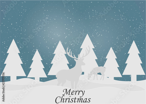 Fototapeta Merry Christmas and Happy New Year. 2019. Winter forest. Vector illustration obraz
