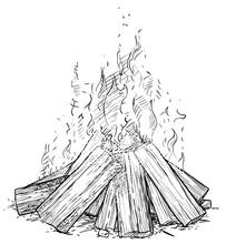 Camp Fire Illustration, Drawin...