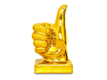 Golden Thumb Up Statue, Isolat...