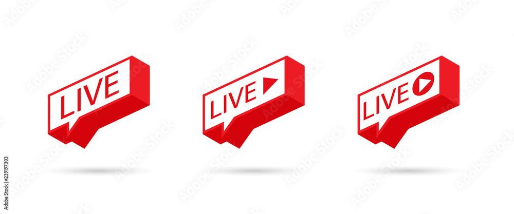 Fototapeta LIVE icon, button, symbol, web, ui, app. Social media icon LIVE streaming. Speech bubble. Vector illustration.
