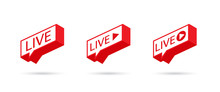 LIVE Icon, Button, Symbol, Web, Ui, App. Social Media Icon LIVE Streaming. Speech Bubble. Vector Illustration.
