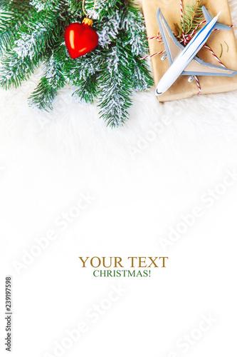 Fototapeta Christmas background on the theme of travel. Selective focus. obraz na płótnie