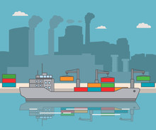 Loading Of Containers Bulk Carrier In Flat Vector Freighter Container Carrying Ship Delivery Goods.Element Of Design Websites, Games, Infographics.Warehouse Port And The Plants Factory Industrial