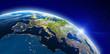 Leinwandbild Motiv Europe from space city lights