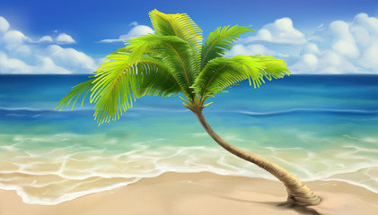 Sea beach. Realistic vector...