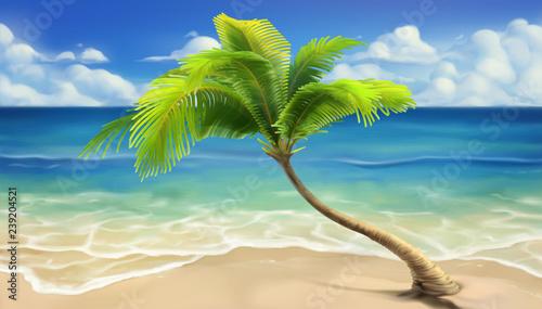 Sea beach. Realistic vector...