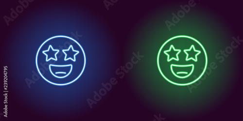 Fotografie, Obraz  Neon illustration of star struck emoji Vector icon