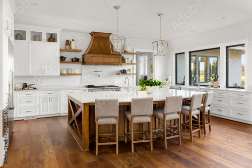 Beautiful Kitchen Interior in New Luxury Home with Large ...