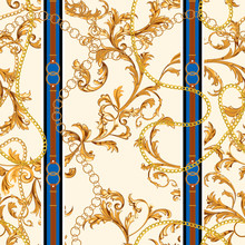 Seamless Pattern With Golden Chains And Baroque Leaves. Vector Patch For Scarfs, Print, Fabric.
