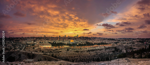 Panoramic sunset view of Jerusalem Old City and Temple Mount from the Mount of Olives