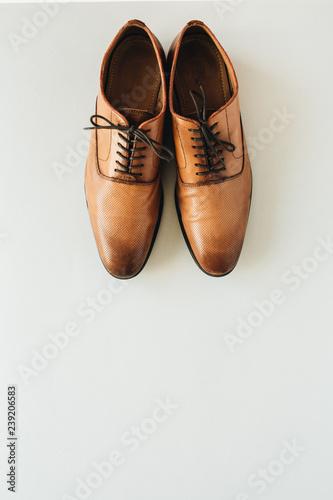 Fototapeta Men's leather shoes. Flat lay, top view fashion background obraz na płótnie