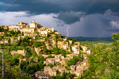 Storm rolls into the Luberon behind Gordes