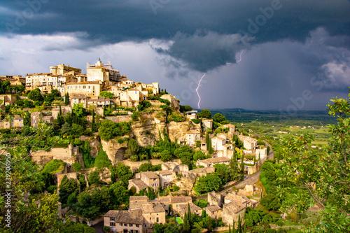 Storm rolls into the Luberon behind Gordes