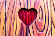 Heart Carved In Wood. Valentines Day.