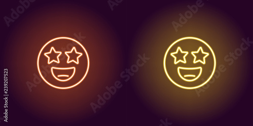 Fotografie, Obraz  Neon illustration of star struck emoji Vector icon