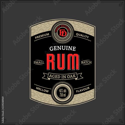 Papel de parede Rum label template
