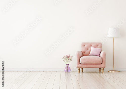 Living Room Interior Wall Mock Up With Pink Tufted Armchair Pastel Pillow Standing Lamp And Flowers In Vase On Neutral Empty Warm White Background Free Space On Left 3d Rendering Buy