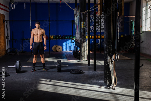 young man training Canvas Print