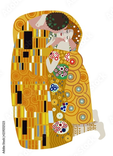 the kiss couple inspirated painting Tableau sur Toile