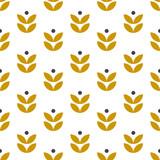 Prosty wzór geometryczny w stylu skandynawskim. Motyw kwiatowy w stylu retro. Tapeta wektor - 239215335