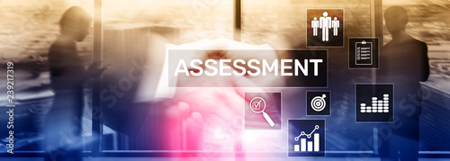 Photo Assessment Evaluation Measure Analytics Analysis Business and Technology concept on blurred background