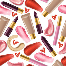 Lipstick Seamless Pattern Vector Beautiful Red Color Fashion Pink Lipgloss Lip Makeup Illustration Backdrop Of Shiny Liquid Female Cosmetic On White Background