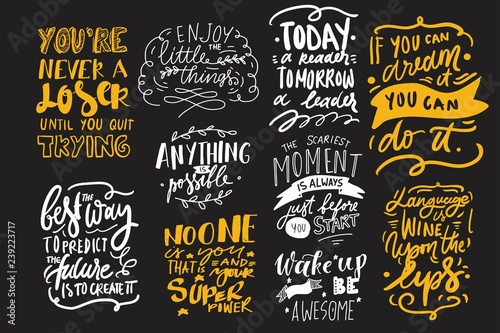 Motivation quote. Hand lettering modern illustration for your design.