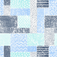 Seamless Vintage Pattern In Patchwork Style. Blue-white Doodle Ornament. Print With Marine Motifs. Vector Illustration.