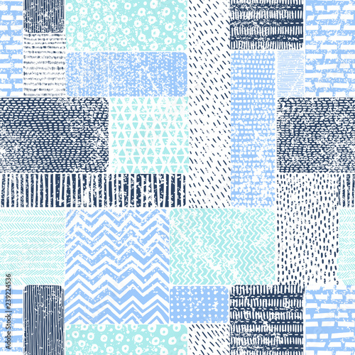 Seamless vintage pattern in patchwork style. Blue-white doodle ornament. Print with marine motifs. Vector illustration. Fototapete