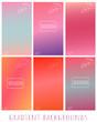 Set of Gradient blue, pink, purple, violet vector backgrounds with leaves - for website, presentation, mobile app