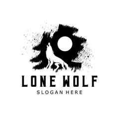 Lone Wolf logo design template