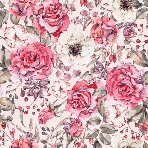 natura-akwarela-bezszwowe-wzor-z-rozy-zawilec-bawelna
