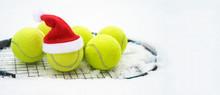 Santa Hat On Tennis Ball, Set ...