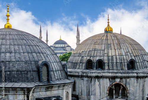 Domes of Saint Sophie Cathedral and Blue Mosque, from Saint Sophie - Istanbul, T Canvas Print