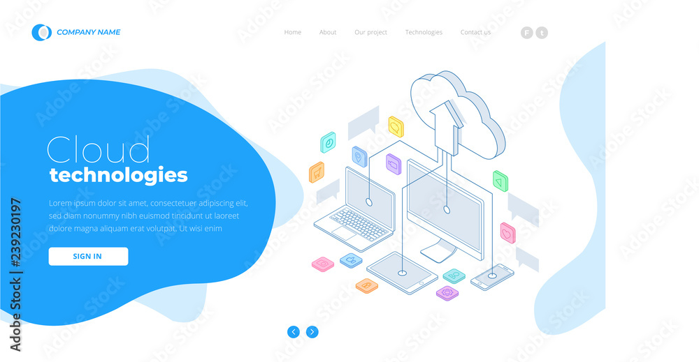 Fototapeta Web page design templates Cloud Computing concept. Isometric cloud services. Internet technology. Online services. Data, information security. Vector illustration.