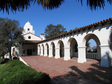 Archways And Columns Of The Historic Presidio Adobe Mission In San Diego California
