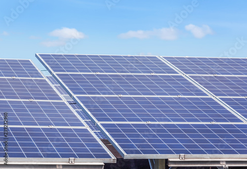 Fotografie, Obraz  Close up rows array of solar cells or photovoltaics in solar power station alter