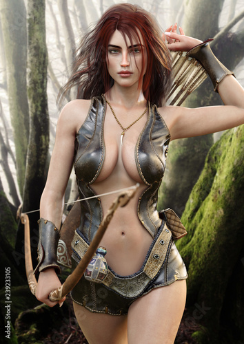 Portrait of a seductive fantasy redhead female archer with bow and arrow drawing her weapon as she approaches the camera Tapéta, Fotótapéta