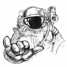 Hand Drawn Fantastic Astronaut...