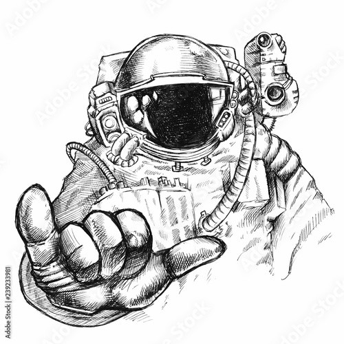Valokuva Hand drawn fantastic astronaut or cosmonaut in helmet and spacesuit with hand sh