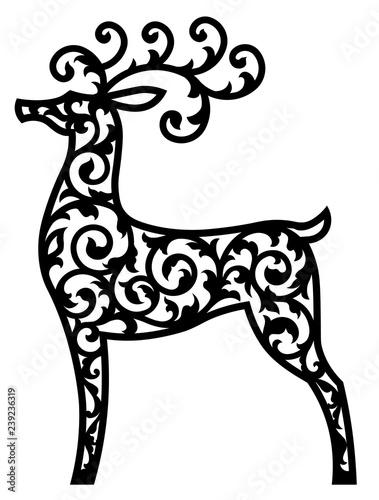 Christmas Cutout Patterns.Deer Vector Laser Cut Template Cutout Pattern Of Christmas