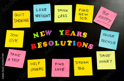 Deurstickers Ontspanning Colorful New Year resolutions and sticky post its notes with popular goals on chalk blackboard
