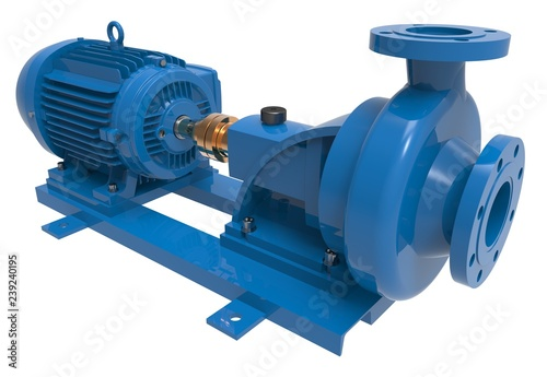 Cuadros en Lienzo Electric water pump 3d illustration isolated on the white background