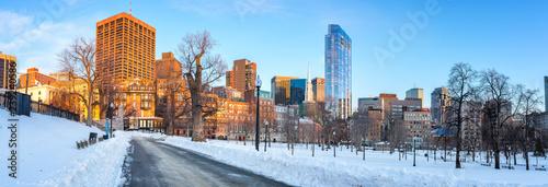 Foto op Canvas Amerikaanse Plekken Panoramic view on Boston public garden at winter