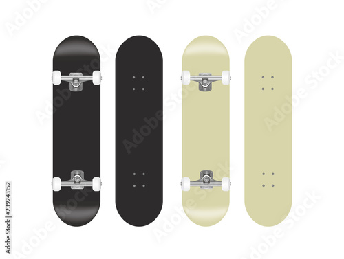 Valokuvatapetti skateboard vector template illustration set (black/white)