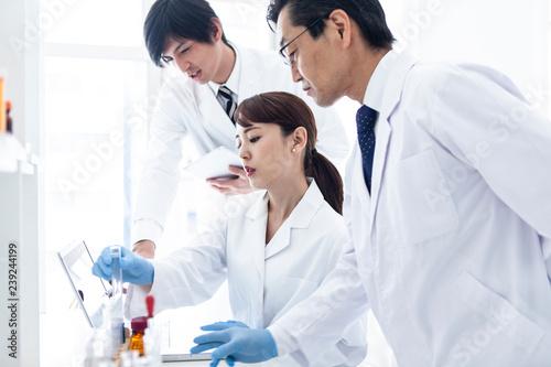 Carta da parati 白衣の科学者が三人で実験をおこなっている