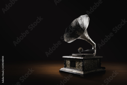 Gramophone on a dark background Wallpaper Mural