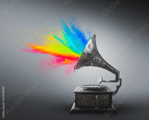 Gramophone exploding with colored powder Canvas Print