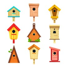 Wooden Birdhouses Isolated Icons, Nesting Boxes To Hang On Tree